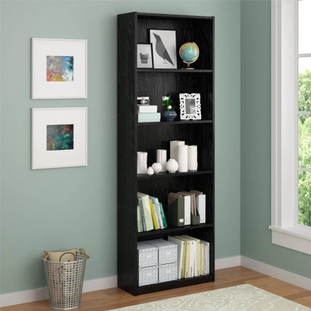 Ameriwood 5-Shelf Bookcase, Decorative bookcase is easy to assemble Doubles as an open shelving unit (Black)