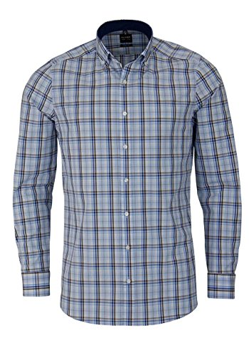 OLYMP Level Five body fit Hemd Langarm Button Down Kragen Karo blau