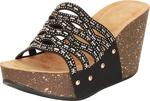 (Cambridge Select Women's Open Toe Laser Cutout Crystal Rhinestone Studded Platform Wedge Slide Sandal,7 B(M) US,Black NBPU)