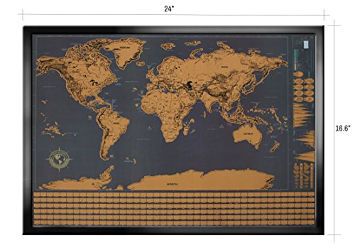Wonderful Maps Scratch Off World Map. Perfect Gift for Travelers. With Country Flags, US States, Australian States and Canadian Provinces On Black Background. Prime World Scratch Map Poster. Photo #7