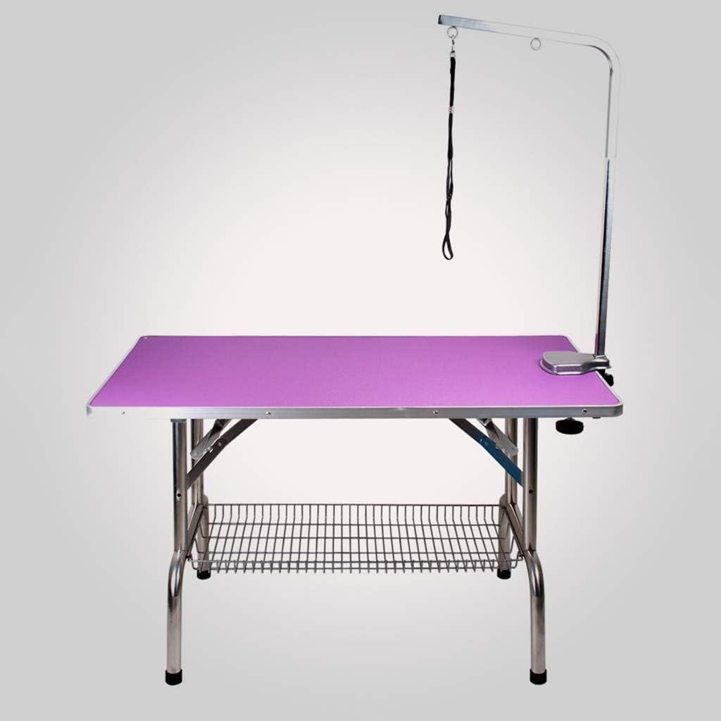 トリミングテーブル 折りたたみステンレス鋼の犬の毛づくろい100KGに腕縄やアクセサリートレイ容量アップした専用の犬ペットグルーミングテーブルをモデル化アジャスタブルポータブル (Color : Purple, Size : 95cm*55cm*78cm)