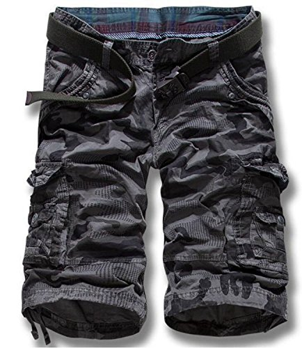 LOVECC Men's Summer Cotton Relaxed Fit Camo Cargo Shorts(No Belt) Grey US: 34 size(Label 36)
