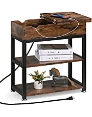End Table with Charging Station Farmhouse Small Wood Narrow Side Table with Dual USB Ports and AC Outlet, Flip Top Bedside Sofa Table Nightstand for Bedroom, Living Room