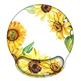 Ergonomic Mouse Pad with Gel Wrist Rest Support, iLeadon Non-Slip Rubber Base Wrist Rest Pad for Home, Office Easy Typing & Pain Relief, Sunflower