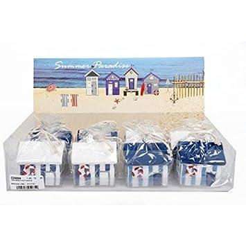 Compra Náutico Decoración Adorno vela azul y blanco de casetas de playa playa mar regalo en Amazon.es