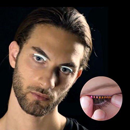 Waterproof LED Eyelashes, Glowing LED Eyelashes lashes For Party Bar NightClub Concerts Birthday Gift Halloween (White) -