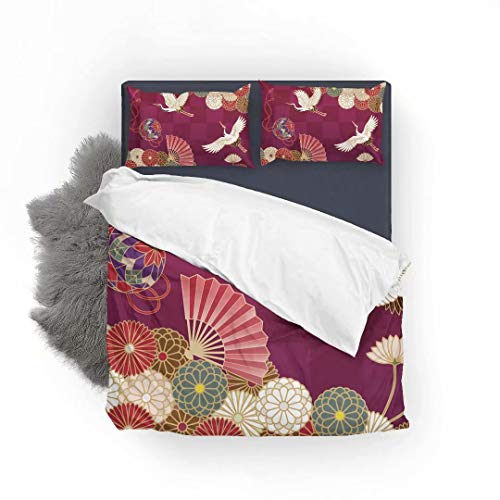LEFEI Chrysanthemums Japanese Traditional Pattern Super Soft and Comfortable Touch 3 Piece Premium Bedding Set, 120gsm Microfiber Fabric Bedding Duvet Quilt Cover Sets- Queen Size