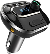 Comsoon Trasmettitore FM, Adapter Kit Vivavoce Bluetooth Wireless con Caricabatterie da auto , Audio Recevitore [ TF Card + U Disco] a Doppia Porta USB per iPhone Samsung HUAWEI iPad iPod, ecc