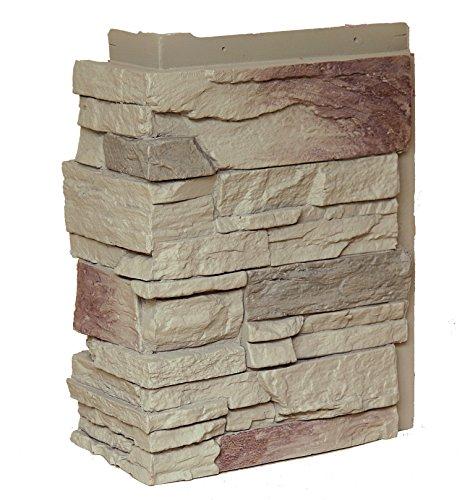 (NextStone Country Ledgestone Faux Polyurethane Stone Outside Corner - Teton Buff - 4 Pack)