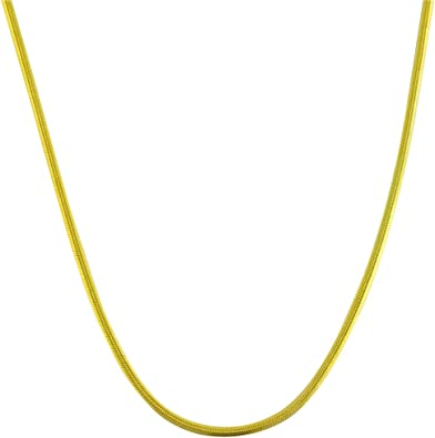 925 Sterling Silver 14k Yellow Gold Plated Snake Solid Link Chain Necklace Italy