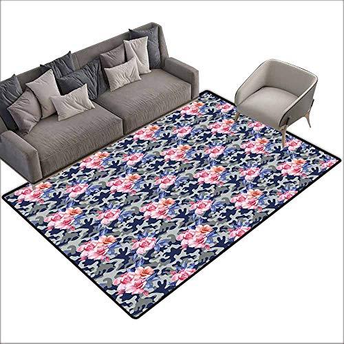 Large Floor Mats for Living Room Colorful Camo,Victorian Theme Pink Retro Design Roses Urban Fashion Nature Feminine,Pink Violet Blue Sage Green 60