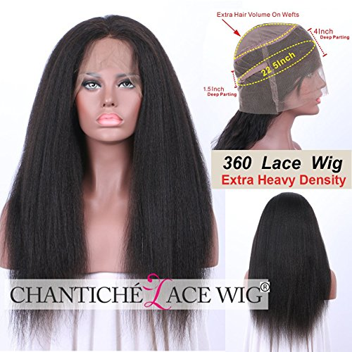 Chantiche Italian Yaki 360 Lace Frontal Wig Pre Plucked with Baby Hair Brazilian Remy Human Hair Wigs for Black Women Full 360 Lace Wig with High Ponytail 150% Density 16inches Natural Color