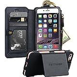 iPhone 6S Case, iPhone 6 Case, iPhone 6 Wallet Case,BENTOBEN Wallet Case Kickstand Faux Leather Zipper Coin Purse Flip Case Detachable Phone Cover Credit Card Slots Holder Case for iPhone 6/6S, Black
