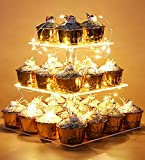 Vdomus Pastry Stand 3 Tier Acrylic Cupcake Display Stand with LED String Lights Dessert Tree Tower for Birthday/Wedding Party