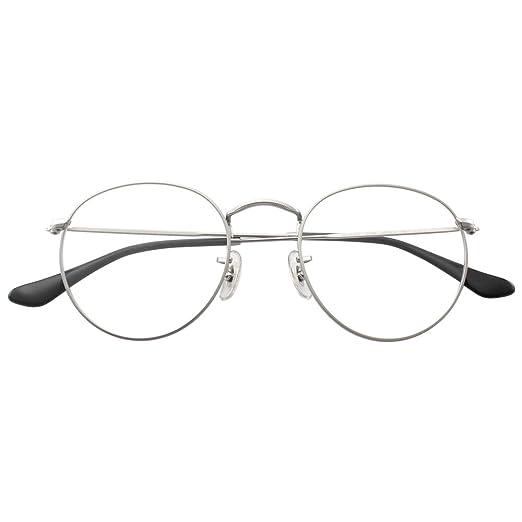 a36e77114 HENRIYETI Classic Round Metal Clear Lens Glasses Frame Unisex Vintage  Designer Circle Eyeglasses-silver