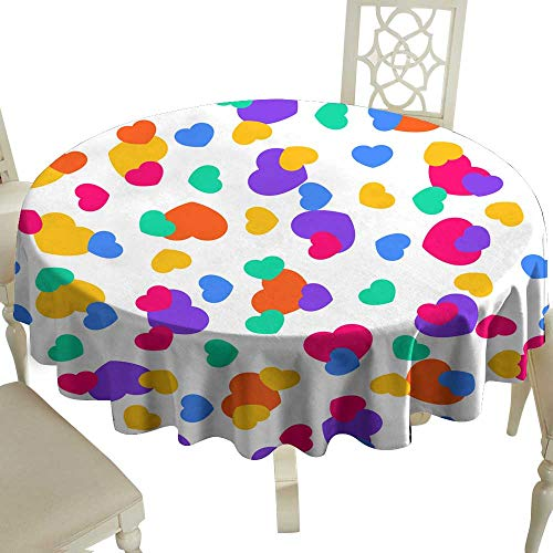 Restaurant Tablecloth Fun Seamless Vintage Love Heart Background in Pretty Colors Great for Baby Announcement Valentine s Day Mother s Day Easter Wedding Scrapbook Gift Wrapping Paper Textiles for Ki