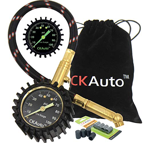 (CK Auto Tire Pressure Gauge 100PSI - Certified ANSI B40.1 Accurate with Large 2