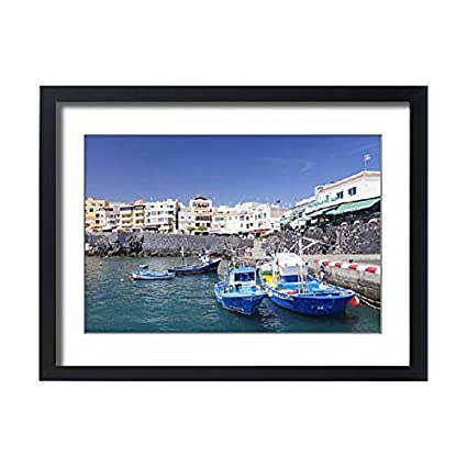 Framed 24x18 Print of Fishing boats at the port, Los Abrigos, Tenerife, Canary