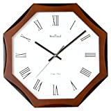 WOOD CRAFT ws-1138a sweep wall clock (wood case - white dial) size-34.8 x 34.8 c.m.