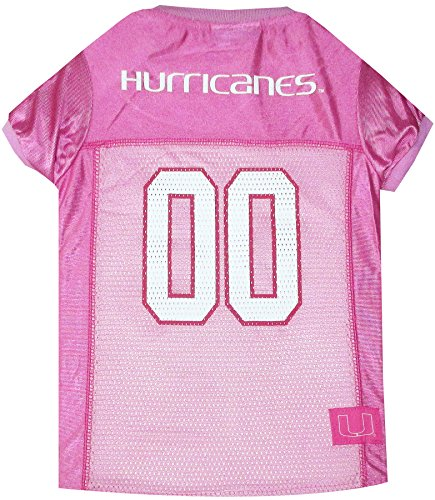 NCAA Miami Hurricanes University Dog Pink Jersey, Medium. - Pet Pink Outfit.