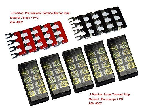 5 Pcs Dual Row 4 Position Screw Terminal Strip 600V 25A + 400V 25A 4 Postions Pre Insulated Terminal Barrier Strip Red /Black 10 (5 Screw Terminals)