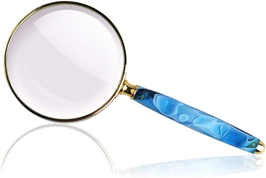 Color : Blue WCBIN Imitation Agate Handle Handheld Magnifying Glass HD 10 Times Childrens Elderly Reading 20 Times Identification Maintenance Portable