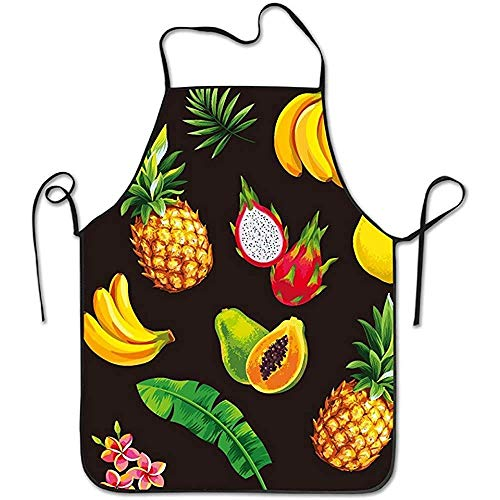 aisijiekejiTAG Cute Aprons Hawaii Pineapple Fruit Lock Edge Waterproof Waist Adjustable Durable Apron Kitchen Cooking Restaurant Waterproof Chef Apron