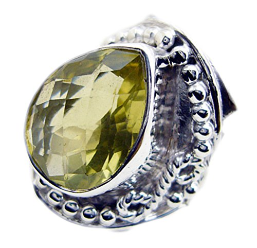 Jewelryonclick Natural Pear Shaped Lemon Quartz Engagement Rings 925 Sterling Silver Vintage Style Jewelry