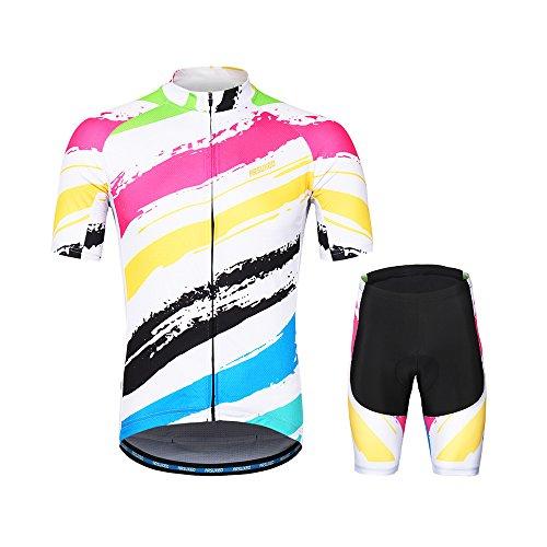 促進する発症周辺Lixada ARSUXEOメンズサイクリングウェアセット半袖セット速乾性シャツ3dクッションパッド入りショートパンツ