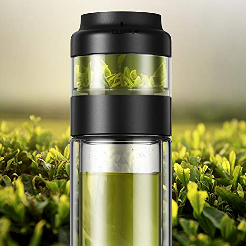 LEIDFOR Glass Tea Tumbler with Leaf-Tea Separation Infuser, Double Wall Glass Travel Tea Mug, Leakproof Tea Bottle with Strainer BPA Free Black 8 Ounce by LEIDFOR (Image #2)