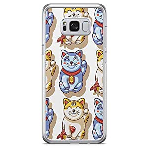 Samsung Galaxy S8 Transparent Edge Phone Case Mandarin Phone Case Chinese Lucky Cat Samsung S8 Cover with See through edges