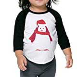 Cool Graphic Santa Christmas Penguin Toddler Raglan T-shirt 3/4 Sleeves Crew Neck Cotton Soft And Cozy Black Size 4 Toddler