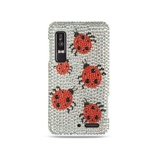 Silver Ladybug Bling Gem Jeweled Crystal Cover Case for Motorola Droid 3