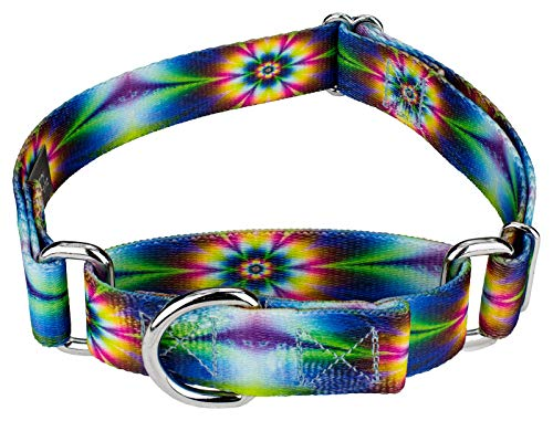 Slip Free Adjustable Collar - Country Brook Petz | Martingale Dog Collar - Groovy Collection with 5 Far Out Designs (Medium, 1 Inch Wide, Tie Dye Flowers)