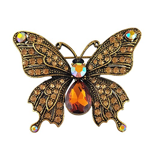 - SELOVO Butterfly Brooch Pin Brown Austrian Crystal Antique Gold Tone¡¢