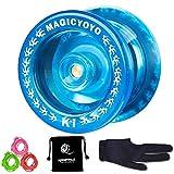 YOSTAR Responsive Pro YoYo MAGIC YOYO K1-Plus Yoyo professional with Yoyo Bag/Sack + 3 Strings and Yo-Yo Glove Gift (Crystal Blue)