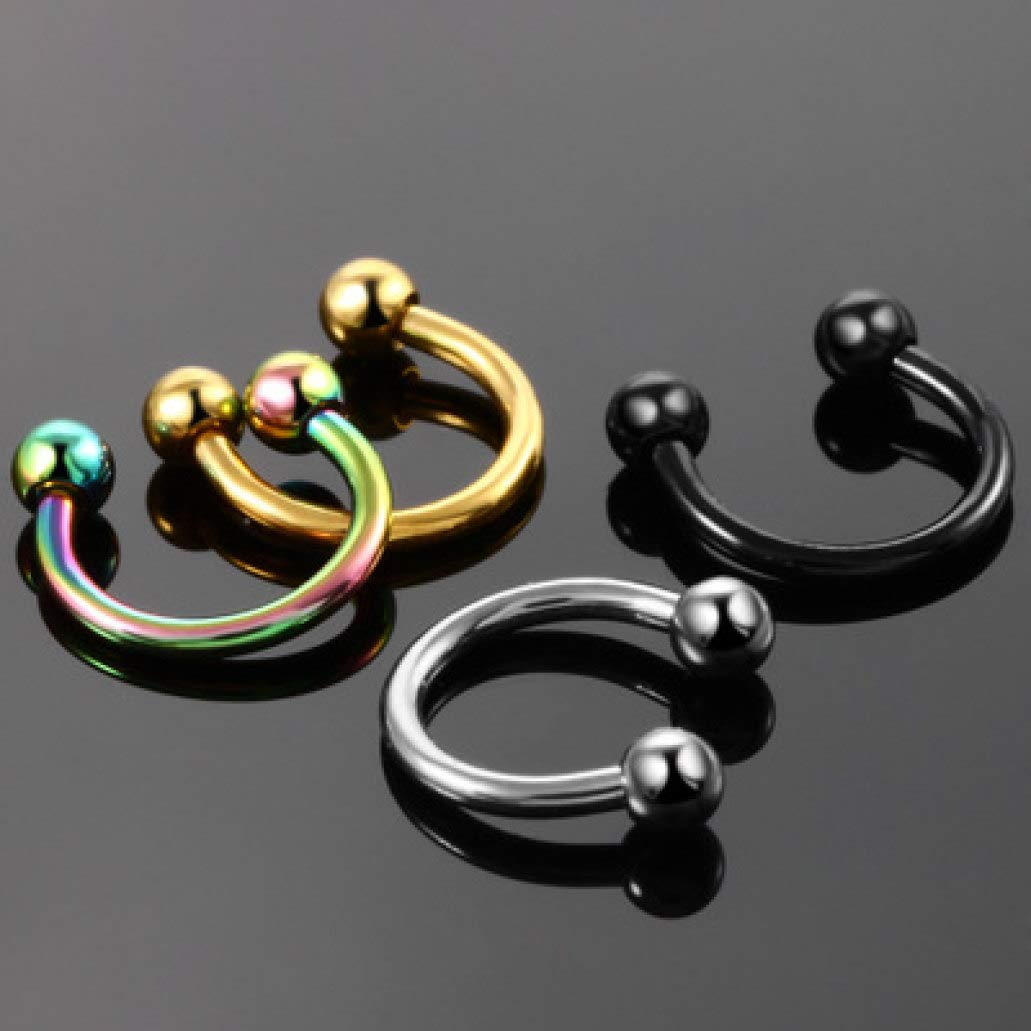 MUROER Horseshoe Circular Barbell Nose Ring Stainless Steel Body Jewelry Lip Nipple Piercing