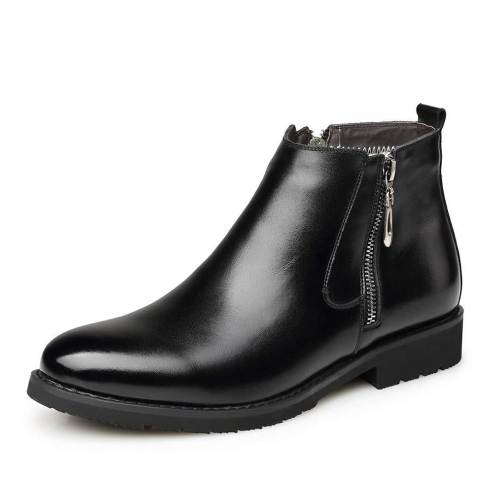 ZHRUI Seitlicher Reißverschluss-echtes Lederstiefel für Männer weiche alleinige Rutschfeste Komfort-Aufladungen (Farbe   Schwarz, Größe   EU 39)