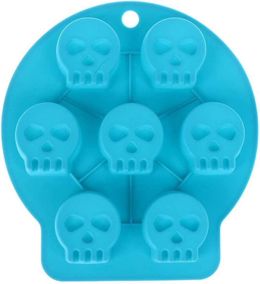 Wetco 7-Cavity Chocolate Molds Silicone Candy Jelly Mold - Candy Gummy Molds and Silicone Ice Cube Tray Nonstick Baking Mold, Approved Food Grade Silicone Molds (Skeleton/Skull)