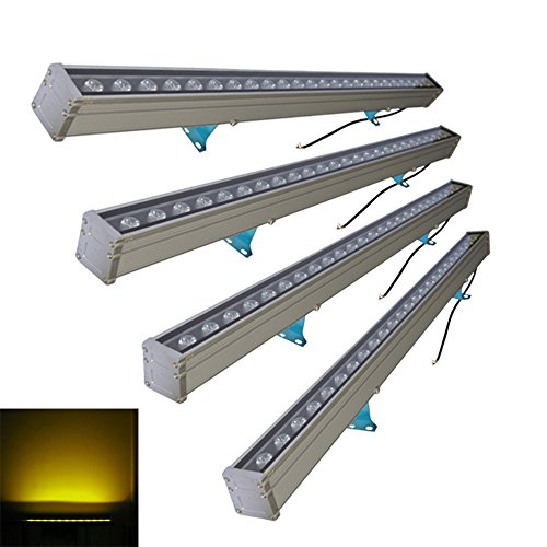 1 Washer Light Wall (Langboss IP65 Waterproof Landscape Lighting 24W LED Wall Washer Light AC85-265V Input Building Floodlights 1 Meter Length Linear Lamp - pack of 4 (Yellow))