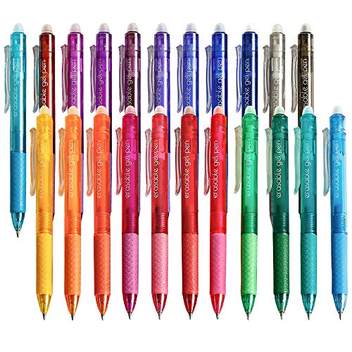 Erasable Gel Pens, 22 Colors Lineon Retractable Erasable Pens Clicker, Fine Point, Make Mistakes Disappear, Assorted Color Inks for Drawing Writing Planner and Crossword Puzzles