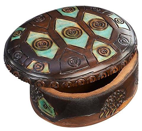 Oval Turtle Shell Box Polish Handmade Keepsake Linden Wood Jewelry Box - Money Turtle