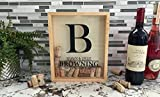 """Qualtry Personalized Cork Shadow Box - Wine Cork Holder Display Great Wedding Gift (11.25"""" x 9.25"""", Browning Design)"""