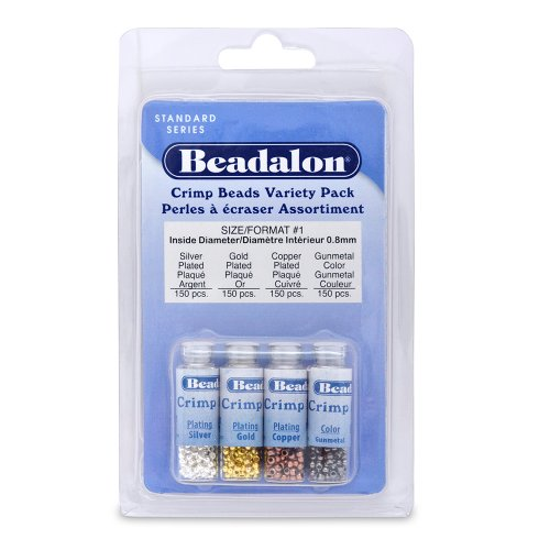 Beadalon Crimp Bead Variety Pack #1 Nickel Free Silver, Gold, Copper, Gunmetal 600 Piece - Gunmetal Crimp Bead