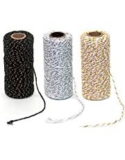 Ewparts 3 Roll Wrapping Gift Cotton Rope Ribbon Twine Rope Cord String, 984 Feet (Multicolored C, 2MM)