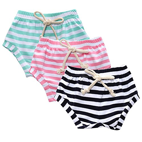 (Kids Tales 3-Pack Summer Baby Boys Girls Striped Shorts Bloomers)