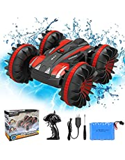Tuptoel Rc Car, Water&Land 2 in 1 Remote Control Car Waterproof RC Truck 2.4Ghz 4WD Off Road Tank 360° Spins & Flips Beach Street Stunt Car, Gifts Toys for Boys …