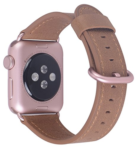 JSGJMY Apple Watch Band 38mm Women Caramel Vintage Genuine Leather Replacement Wrist Apple Watch Strap with Rose Gold Metal Clasp for Iwatch Series 3 Series 2 Series 1 Sport and Edition (Caramel Calf Leather)