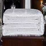 NS Luxury Mulberry Silk Comforter Silk Filled Comforter Silk Duvet Silk Quilt Doona Bedspread Coverlet Blanket King Size Color White for Spring Autumn use