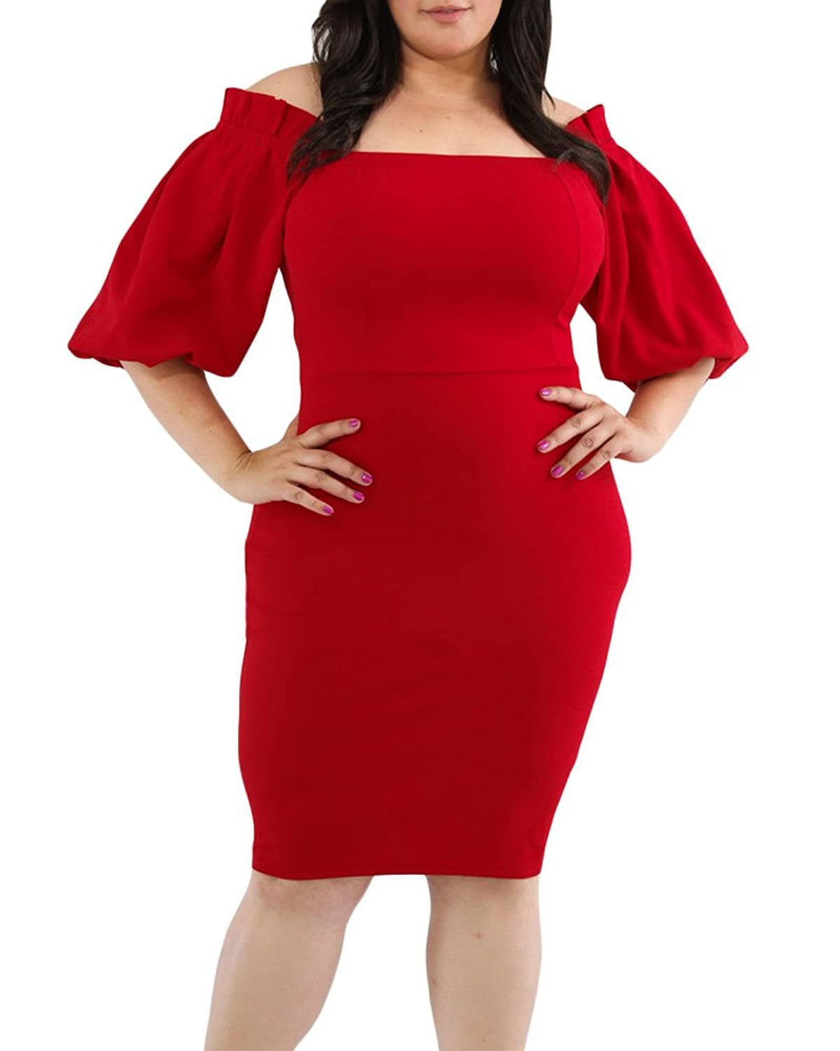 f7c1eea0758 ✪Sexy Curves -- Plus size off shoulder dress features a stretchy fabric,  the long puff pleated sleeves, shoulder-flattering straight neckline.